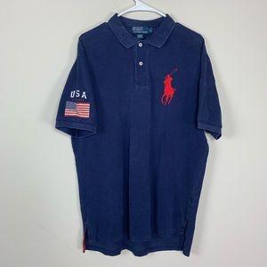 Ralph Lauren navy blue American flag patch polo